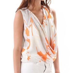DVF | Silk Floral Print Draped Rina Top Size 4
